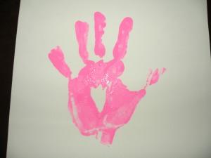 pink hand print